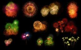 Raccolta dei fuochi d'artificio variopinti realistici Immagine Stock Libera da Diritti