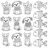 Raccolta dei gatti, dei cani e del fishe del fumetto Fotografia Stock Libera da Diritti