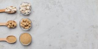 Raccolta dei generi differenti di zucchero su fondo grigio fotografie stock libere da diritti