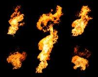Raccolta dei getti dell'accensione di gas della fiamma infuriantesi del fuoco Fotografie Stock Libere da Diritti