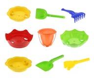 Raccolta dei giocattoli della spiaggia dei bambini, Fotografia Stock