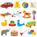 Raccolta dei giocattoli per i bambini Fotografia Stock