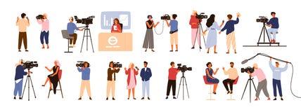 Raccolta dei giornalisti, presentatori di talk show che intervistano la gente, relatori di notizie e cineoperatori o videographer illustrazione vettoriale