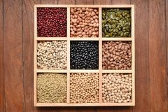 Raccolta dei legumi differenti Fotografia Stock