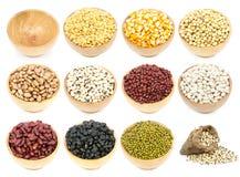 Raccolta dei legumi nella tazza isolata Immagine Stock