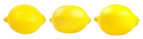 Raccolta dei limoni gialli freschi isolati su bianco Immagine Stock Libera da Diritti