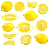 Raccolta dei limoni gialli freschi isolati su bianco Fotografia Stock