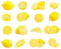 Raccolta dei limoni gialli freschi isolati su bianco Fotografie Stock