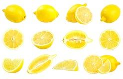 Raccolta dei limoni gialli freschi isolati su bianco Immagini Stock Libere da Diritti