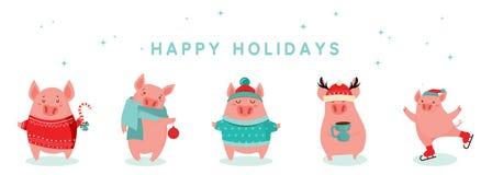 Raccolta dei maiali svegli di inverno Nuovo 2019 anni felice Simbolo dell'anno nel calendario cinese Fumetto di vettore isolato immagine stock libera da diritti