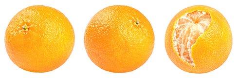 Raccolta dei mandarini freschi isolati su bianco Immagini Stock