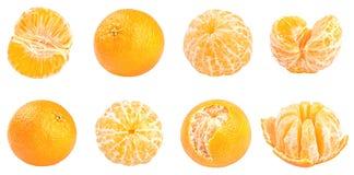 Raccolta dei mandarini freschi isolati su bianco Immagine Stock Libera da Diritti