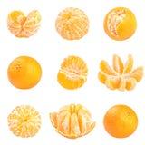 Raccolta dei mandarini freschi isolati su bianco Fotografie Stock