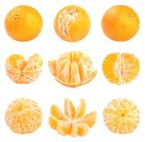 Raccolta dei mandarini freschi isolati su bianco Fotografia Stock