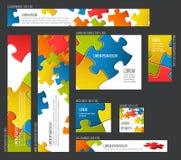 Raccolta dei modelli dell'insegna con il fondo astratto di puzzle Fotografie Stock Libere da Diritti