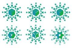 Raccolta dei modelli della mandala di verde blu Immagine Stock Libera da Diritti