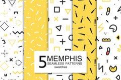 Raccolta dei modelli di Memphis dei campioni - senza cuciture Modo 80-90s Illustrazione Vettoriale