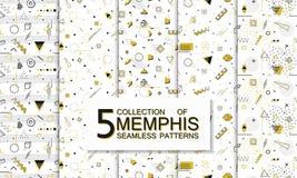 Raccolta dei modelli senza cuciture di Memphis con le forme geometriche Modo 80-90s Fotografia Stock