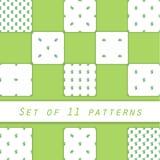 Raccolta dei modelli verdi dei rami, isolata su fondo bianco Immagine Stock Libera da Diritti