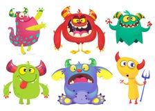 Raccolta dei mostri del fumetto Insieme di vettore dei mostri del fumetto isolati Fantasma, troll, folletto, folletto, diavolo e  royalty illustrazione gratis