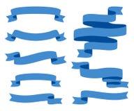 Raccolta dei nastri - con il vettore blu- eps10 Immagine Stock
