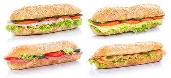 Raccolta dei panini del sottomarino delle baguette con il sal del formaggio del prosciutto del salame Fotografia Stock Libera da Diritti