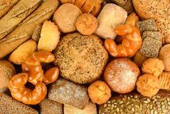 Raccolta dei panini dei prodotti del pane, baguette, pane del cereale, muf Immagine Stock