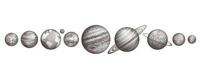 Raccolta dei pianeti in sistema solare Stile dell'incisione Insieme elegante d'annata di scienza La geometria sacra, magia, esote illustrazione vettoriale