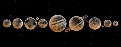 Raccolta dei pianeti in sistema solare Stile dell'incisione Insieme elegante d'annata di scienza La geometria sacra, magia, esote fotografia stock libera da diritti
