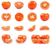 Raccolta dei pomodori rossi freschi isolati su bianco Immagine Stock Libera da Diritti