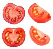 Raccolta dei pomodori rossi isolati su backgroud bianco Immagini Stock