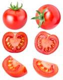 Raccolta dei pomodori rossi isolati su backgroud bianco Fotografia Stock