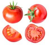 Raccolta dei pomodori rossi isolati su backgroud bianco Fotografie Stock Libere da Diritti