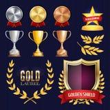 Raccolta dei premi e dei trofei di vettore Distintivi ed etichette dorati Progettazione di campionato primo, secondo, terzo posto royalty illustrazione gratis