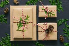 Raccolta dei presente del nuovo anno o di Natale Immagini Stock Libere da Diritti