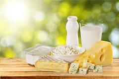 Raccolta dei prodotti lattier-caseario su luce verde Immagine Stock Libera da Diritti