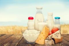 Raccolta dei prodotti lattier-caseario su luce verde Fotografia Stock Libera da Diritti