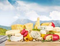 Raccolta dei prodotti lattier-caseario sulla tavola di legno Fotografia Stock Libera da Diritti