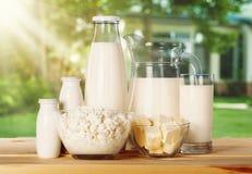 Raccolta dei prodotti lattier-caseario sulla tavola di legno Immagini Stock Libere da Diritti