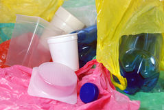 Raccolta dei rifiuti di plastica Fotografia Stock Libera da Diritti