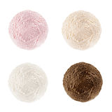 Raccolta dei ripartitori Quattro palle sapore di base e colori - crema, fragola, crème-brulée, cioccolato, isolato sulle sedere b Immagine Stock Libera da Diritti