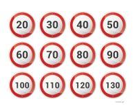 Raccolta dei roadsigns europei Fotografia Stock Libera da Diritti