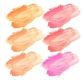 Raccolta dei rossetti macchiati isolati su bianco Fotografia Stock Libera da Diritti