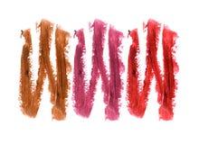 Raccolta dei rossetti macchiati isolati su bianco Fotografia Stock
