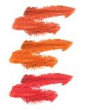 Raccolta dei rossetti macchiati isolati su bianco Immagini Stock