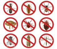Raccolta dei segnali di pericolo rossi circa gli insetti nocivi Illustrazione di vettore royalty illustrazione gratis