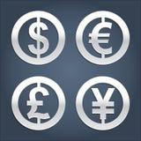 Raccolta dei segni del dollaro, dell'euro, della sterlina e di Yen. Immagini Stock Libere da Diritti