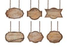 Raccolta dei segni di legno con la catena fotografia stock