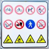 Raccolta dei segni di proibizione Fotografia Stock