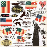 Raccolta dei simboli d'annata di U.S.A. degli elementi per il 14 giugno ed il 4 luglio Fotografia Stock Libera da Diritti